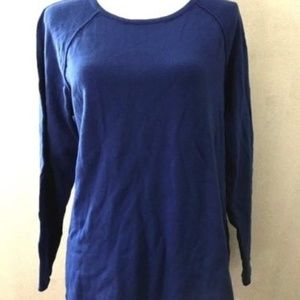 Karen Scott Bright Blue Cotton Long Sleeved Top
